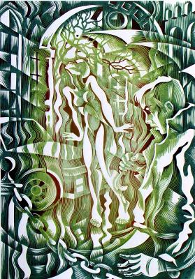 "Vladimir Kataev. ""Interference 2"", linocut, 66Х47 , 2012"