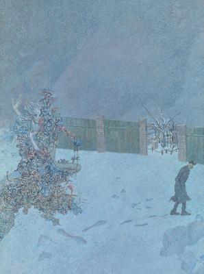 Борис Петрович Свешников. Клумба на снегу. 1973 х.м.79.5 х 59