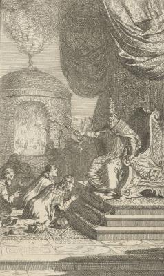 Самюэл ван Хогстратен. Папа и преклоняющие колени правители