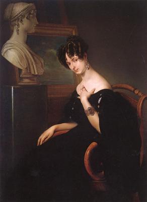 Francesco Ayets. Portrait of Princess Cristina Barbiano Belojoso Trivulzio