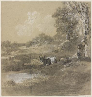 Томас Гейнсборо. Лесной пейзаж с двумя ослами