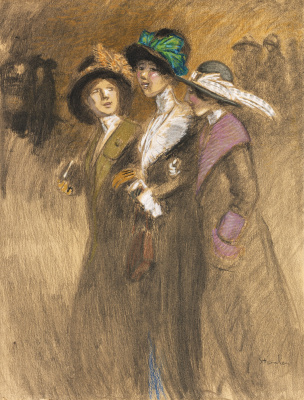 Theophile-Alexander Steinlen. Three charming provincial girl on a walk
