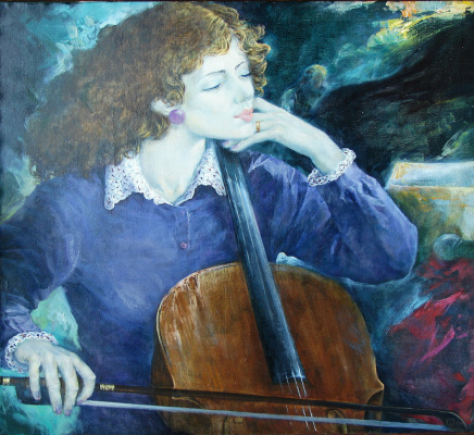 "Valery Petrovich Erofeevsky. ""Soloist of the orchestra"", 2000, oil on canvas, 80х84"