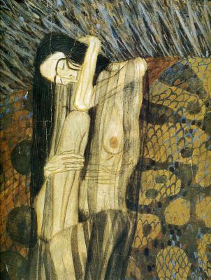Gustav Klimt. Beethoven Frieze the Hostile forces (the Painful sadness). Fragment