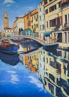 Alexander Romm. Venetian landscape. Canals and boats N2