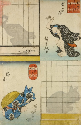 Utagawa Hiroshige. Japanese shadow theatre. Man, depicting a Swan and a cat