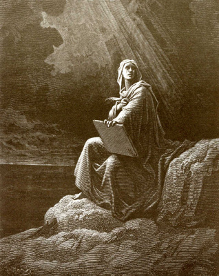 Paul Gustave Dore. Illustration to the Bible: Apostle John on Patmos Island