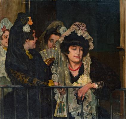 "Ignacio Suloaga. Spaniard in the bed on the Plaza de Tores (Women in the bed on the ""Plaza de toros"")"