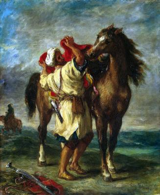 Эжен Делакруа. Марокканец, седлающий коня