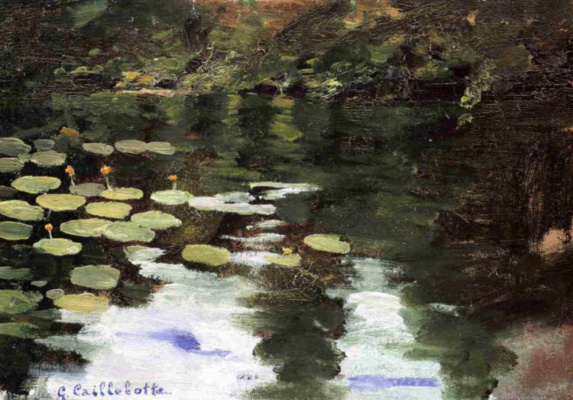 Gustave Caillebotte. Hierro., water lilies on the pond