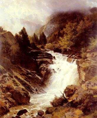 Иоганн Готфрид Стеффан. Водопады в Баварских Альпах