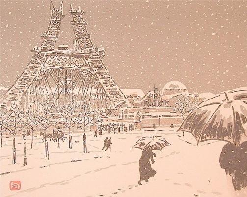 Анри (Henri) Ривьер (Rivière). Эйфелева башня в процессе строительства Трокадеро