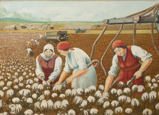 Abylkhan Kasteevich Kasteev. Picking cotton