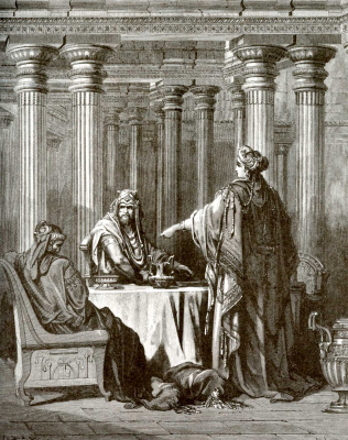 Paul Gustave Dore. Illustration to the Bible: Esther reveals Amanac's atrocities of Haman