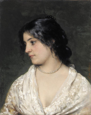 Eugene de Blaas. Pearl necklace