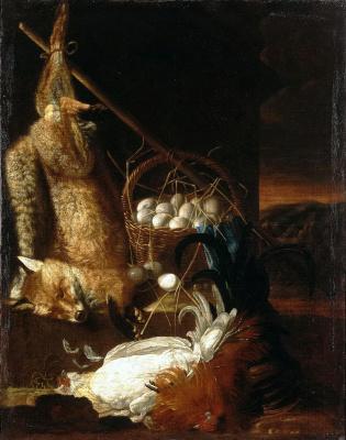 Филипп Фердинанд Хамильтон. Натюрморт с битыми петухами и лисицей