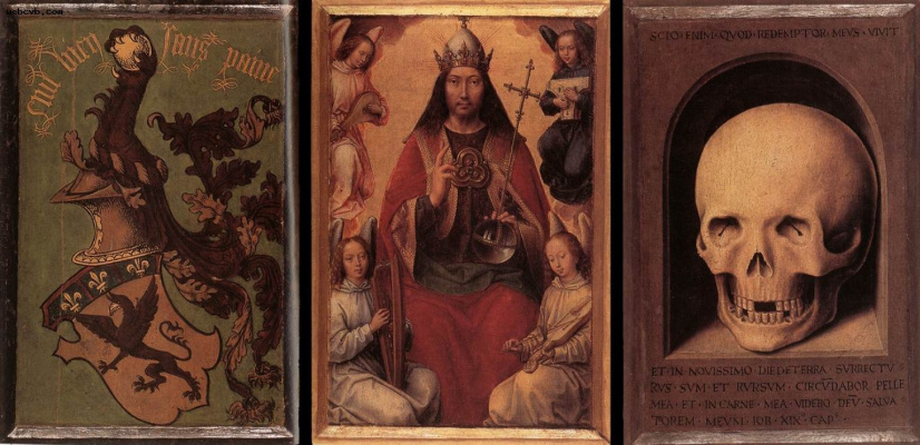 Hans Memling. Triptych of earthly vanity and divine salvation. The reverse side