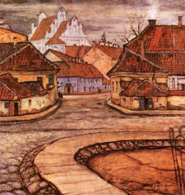 Mstislav Valerianovich Dobuzhinsky. Tilto street in old Vilnius