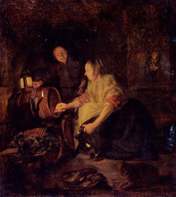 Габриель Метсю. Женщина, наливающая вино из бочки