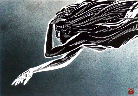 "Vladimir Kataev. ""Black angel-1"", 46 x 66, engraving on linoleum, airbrush, 2011"