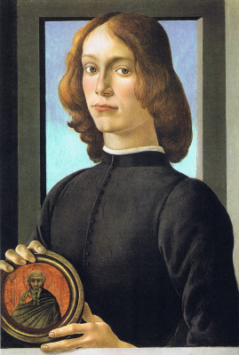 Sandro Botticelli. Portrait of a young man with a medallion