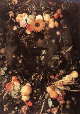 Ян Давидс де Хем. Фруктово-цветочный натюрморт