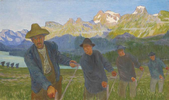 Giovanni Giacometti. Hay. Men in the field