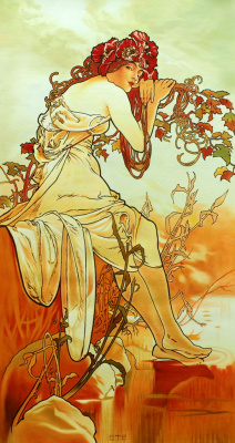 Savely Kamsky. Copy of the picture of Alfons Mucha Summer. Episode Seasons