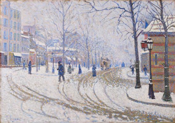 Paul Signac France 1863 - 1935. Snow, Boulevard Clichy, Paris. 1886