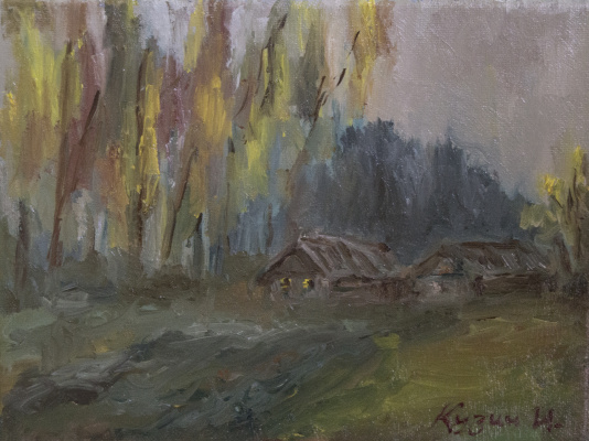 "Ivan Olegovich Kuzin. ""Autumn evening on a farm"""