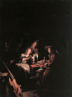 Геррит (Герард) Доу. Игроки в карты при свечах