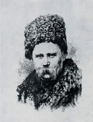 Василий Васильевич Матэ. Портрет Т.Г. Шевченко Офорт.