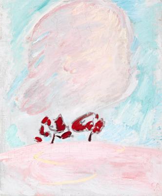 Куно Амье. Зимний пейзаж с деревьями и облаком