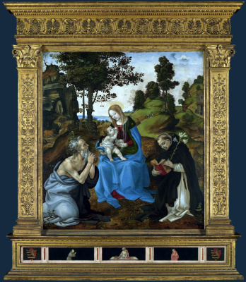 Филиппино Липпи. Мадонна с младенцем и святыми Иеронимом и Домиником