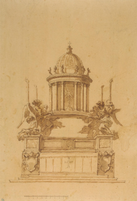 Gian Lorenzo Bernini. The project of the altar and tabernacle for the chapel del Sacramento of the Cathedral in Vatican city