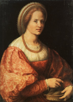 Jacopo Pontormo. Portrait of a lady with a basket for yarn