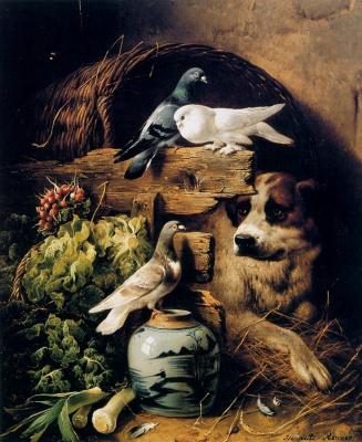 Генриетта Роннер-Книп. Интерьер конюшни с собакой