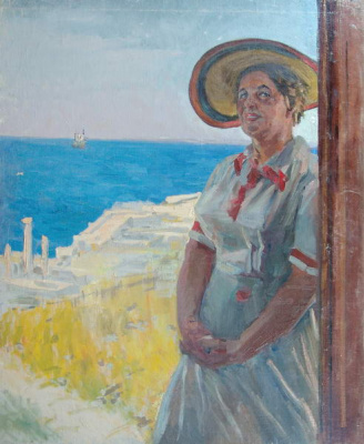 Pavel Petrovich Sokolov-Skalya. Portrait of the artist's wife A. S. Sokolova-Scalia (Myasnikova) in the Chersonese. 1954