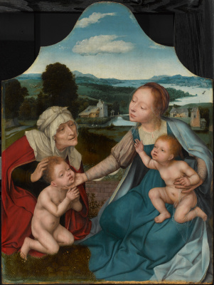 Quentin Masseys. Virgin Mary and Christ with Saint Elizabeth and John the Baptist
