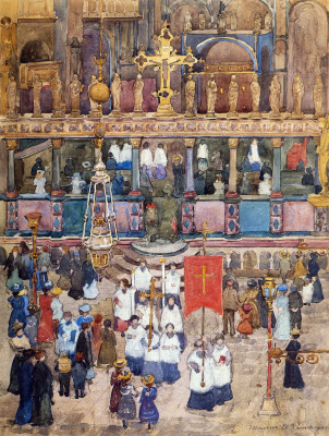 Морис Брэзил Прендергаст. Пасхальная процессия церкви св. Марка