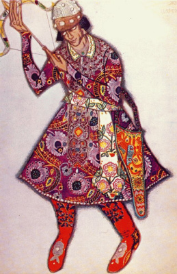 Lev Samoilovich Bakst (Leon Bakst). Costume design for the ballet the Firebird. Mikhail Fokine in the role of Prince