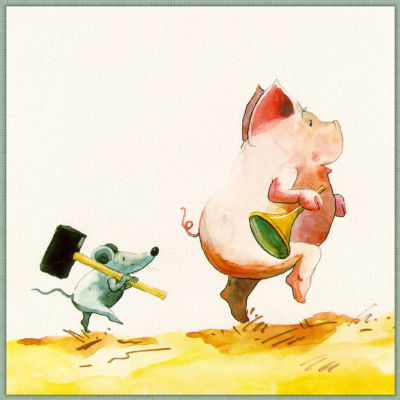 Helme Heine. Mouse and pig