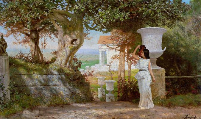 Генрих Ипполитович Семирадский. Девушка с кувшином в оливковой роще