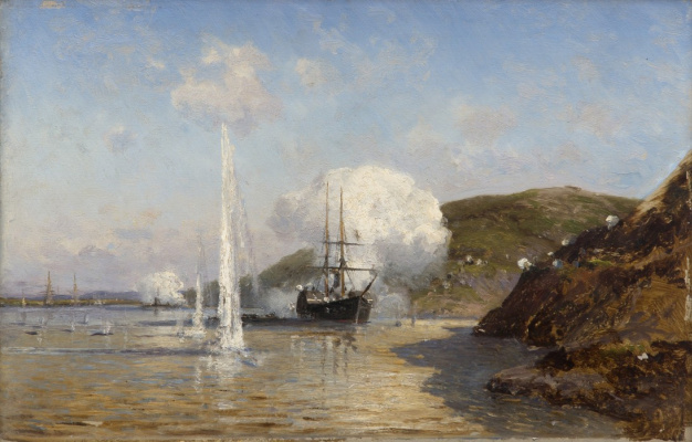 Alexey Petrovich Bogolyubov. Case of Lieutenant Skrydlov on the Danube. Sketch