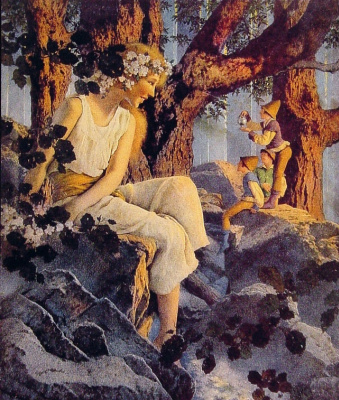 Maxfield Parrish. Girl with elves