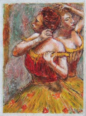 Андрей Харланов. Copy: Degas - Two Dancers 1898-99 charcoal and pastel on paper 49x36cm