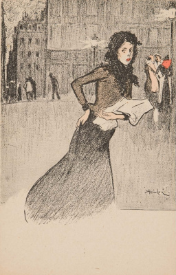 Theophile-Alexander Steinlen. Hurrying girl