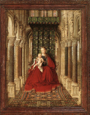Jan van Eyck. The Dresden triptych. Central scene: Madonna with child