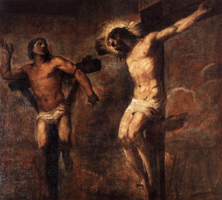 Тициан Вечеллио. Распятые Христос и вор
