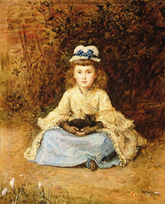 John Everett Millais. Morning. Portrait of a girl with a kitten